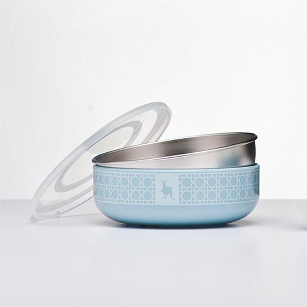 美國 Kangovou - 不鏽鋼安全兒童餐具-小粥碗-野莓藍 (12*12*4(長*寬*高))