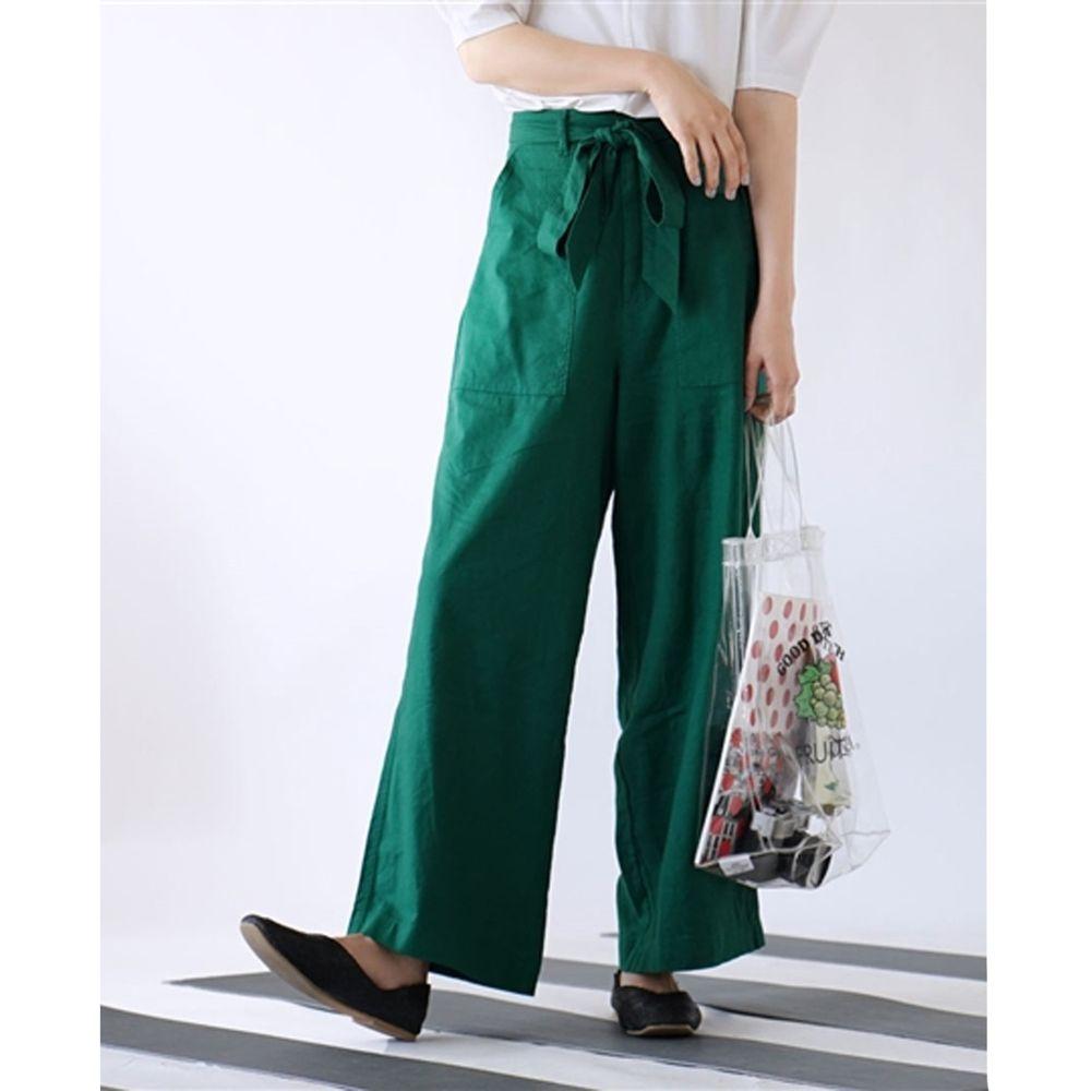 日本 zootie - 麻料舒適綁帶寬褲-正綠