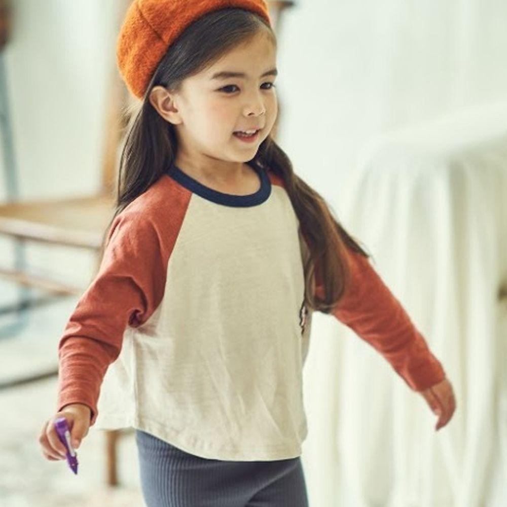 韓國 Mimico - 刺繡獅子拼接薄棉T-橘紅