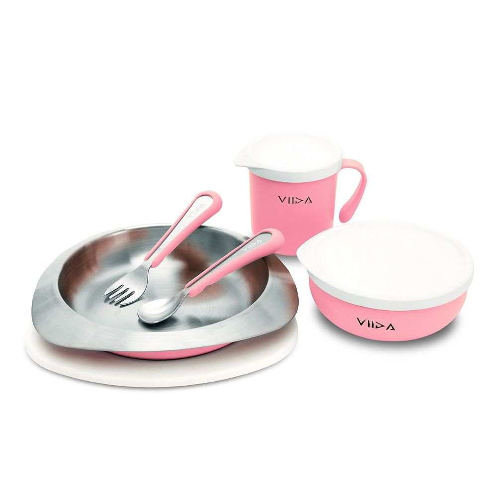 VIIDA - Soufflé抗菌不鏽鋼兒童餐具組-碗、盤、杯、叉子、湯匙-粉