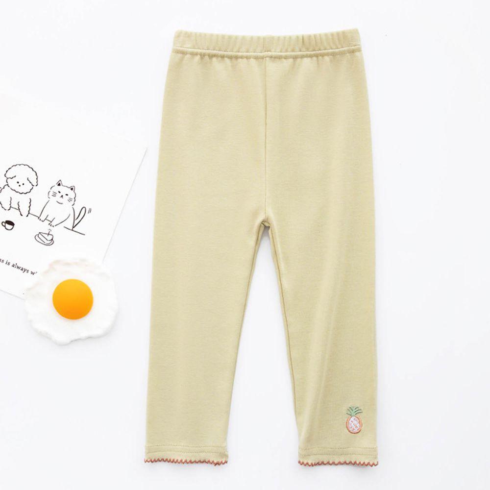 FANMOU - 七分內搭褲(棉質)-刺繡鳳梨-綠色