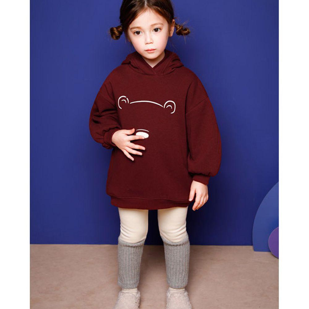 韓國 Jelispoon - (內刷毛)小熊造型連帽套裝-酒紅