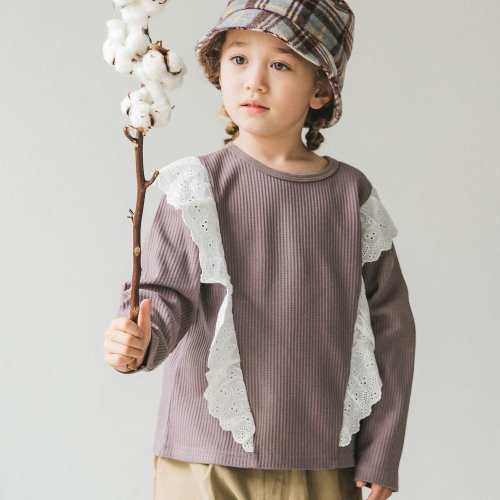 日本 PAIRMANON - 雙荷葉蕾絲撞色拼接鬆餅紋長袖上衣-摩卡