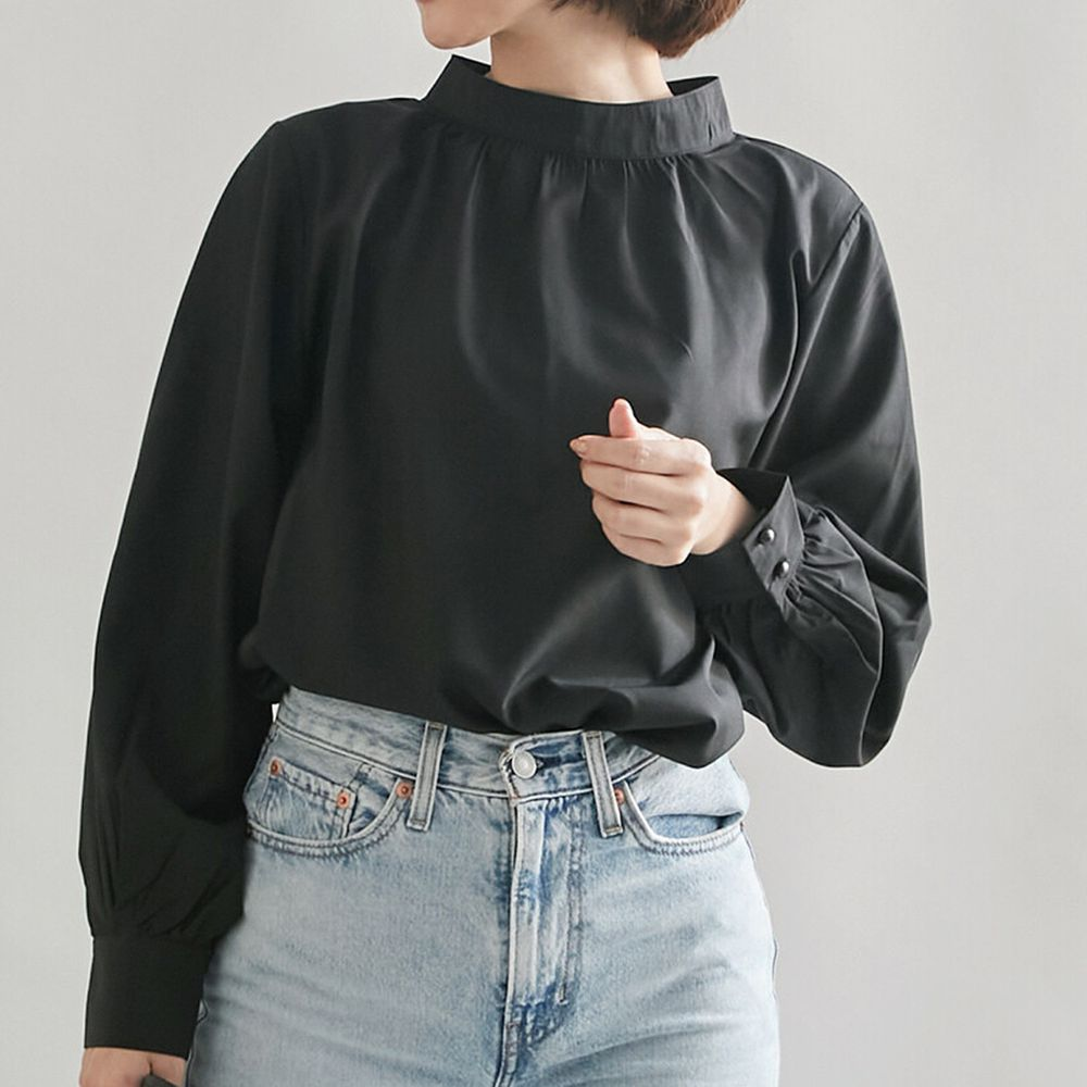 日本女裝代購 - 復古立領燈籠袖長袖上衣-黑