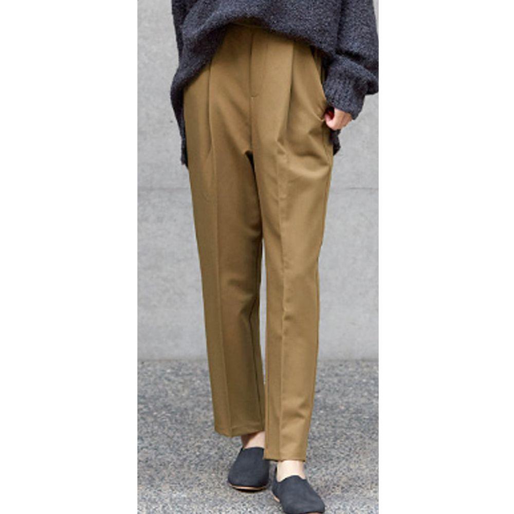 日本女裝代購 - 高腰打褶美腿西裝褲-咖啡