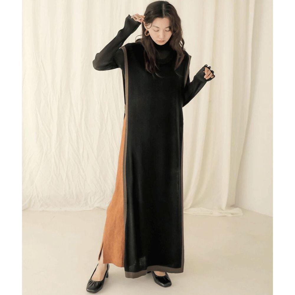 日本 Bou Jeloud - 撞色針織長版背心洋裝-黑