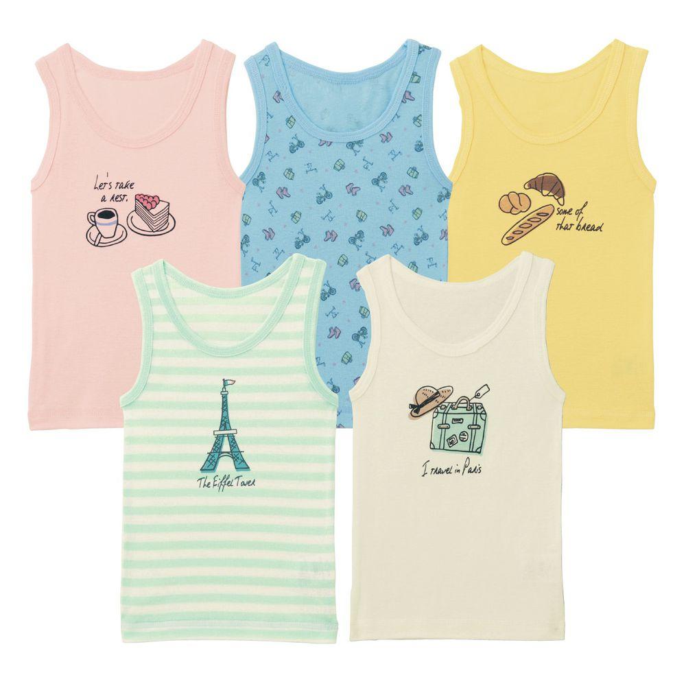 日本千趣會 - GITA 超值內衣/背心五件組 (無袖)-法式浪漫