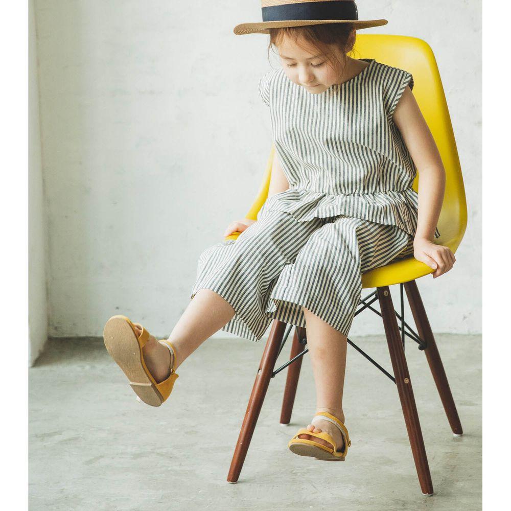 日本 PAIRMANON - 無袖荷葉衣襬上衣 X 寬褲套裝-直條紋-深藍