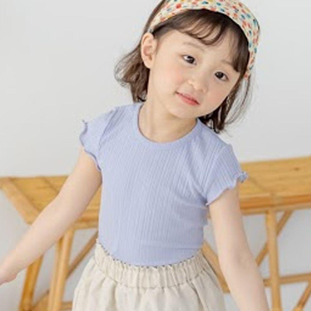 韓國 Orange Mom - 捲邊皺摺感彈性上衣-灰紫