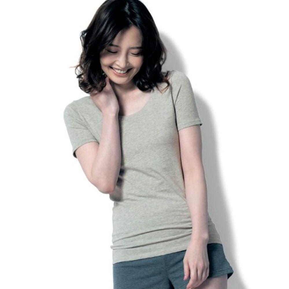 日本千趣會 - 95%棉 (媽媽)換季調節短袖發熱衣-淺灰