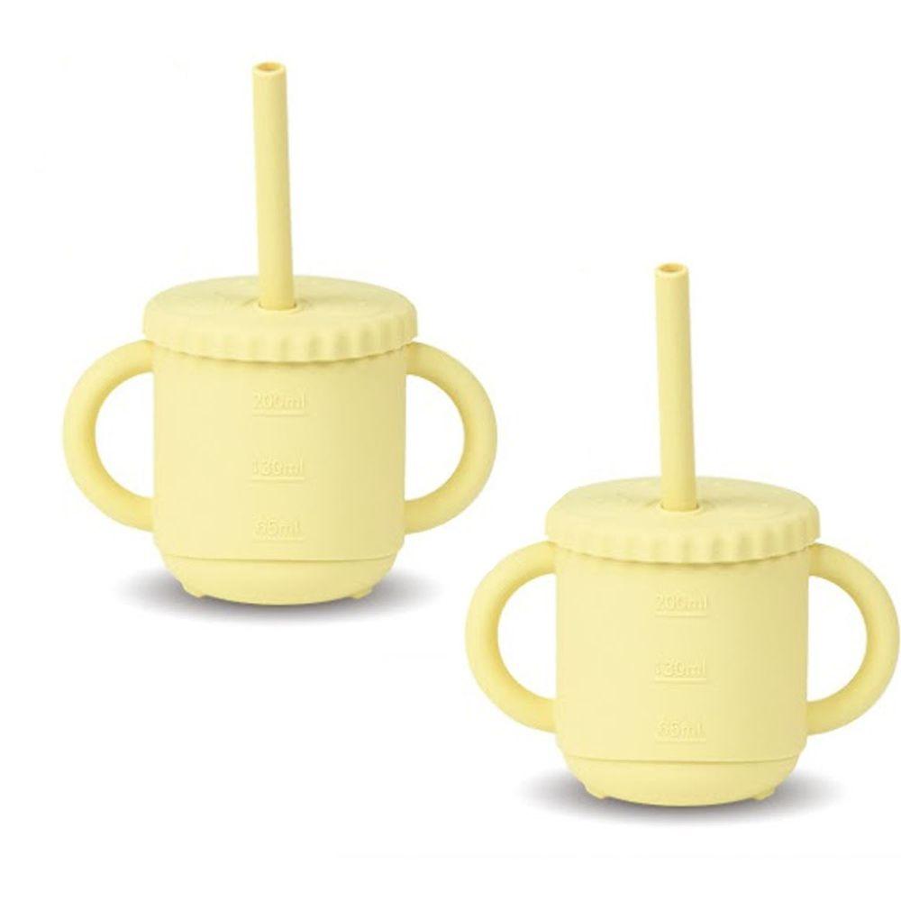 KOM - 台灣製矽膠環保無毒寶寶學習杯兩入-奶油黃 (270ml)