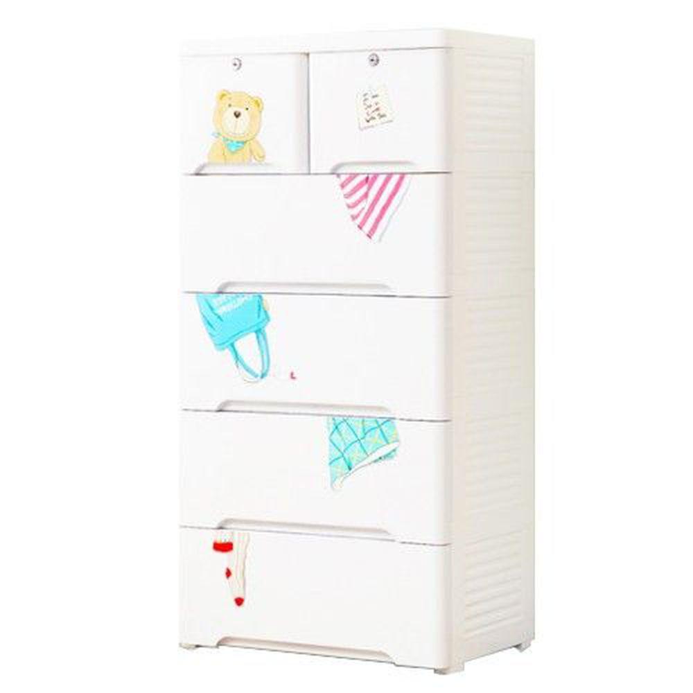 家窩 - 新晴五層附鎖抽屜收納櫃-DIY組裝-泰迪日常-單層30L*5層