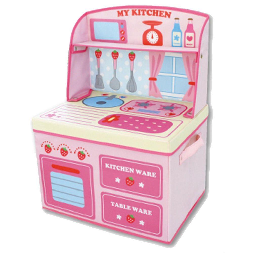 日本 U-COMPANY - 小書桌型折疊收納箱-草莓小廚房