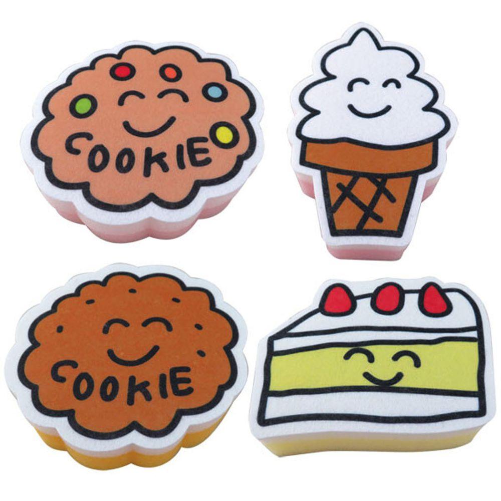 日本 OKUTANI - 童趣插畫洗碗海綿4件組-甜點系列