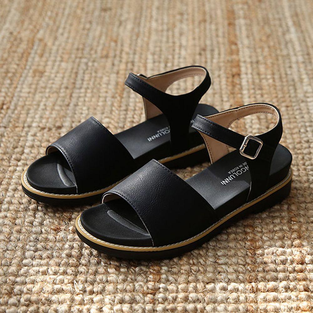韓國 Dangolunni - 皮革寬面後增高涼鞋(4cm高)-黑