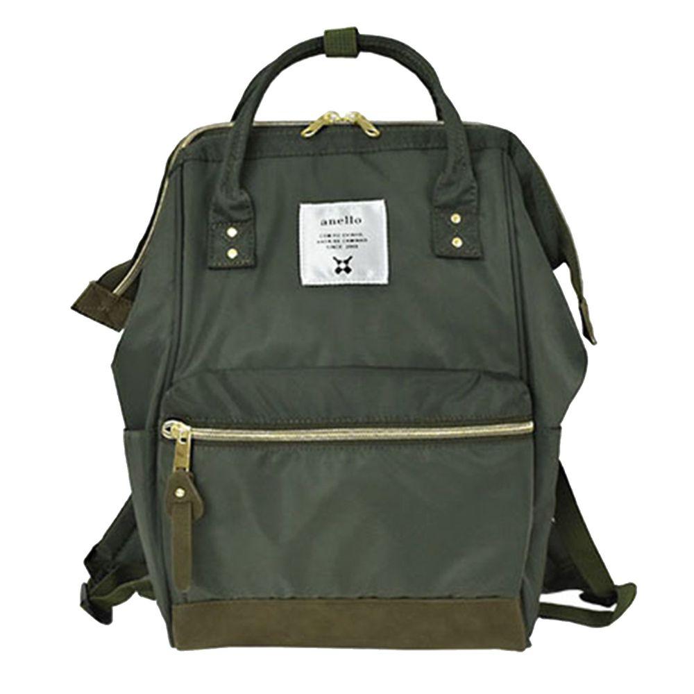 日本 Anello - 日本大開口高密度尼龍後背包-mini小尺寸-KH卡其綠