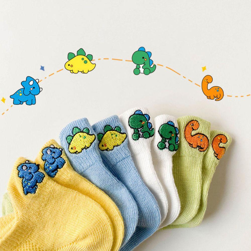 薄款恐龍刺繡兒童船型襪(4雙一組)