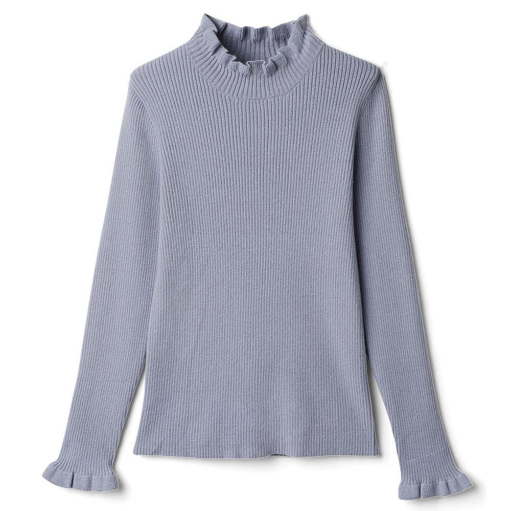 日本 GRL - 合身修飾花邊袖領口針織上衣-星塵藍