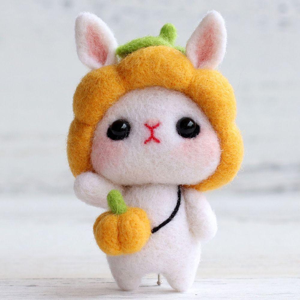 Diy療癒兔子羊毛氈戳戳樂材料包-南瓜兔兔