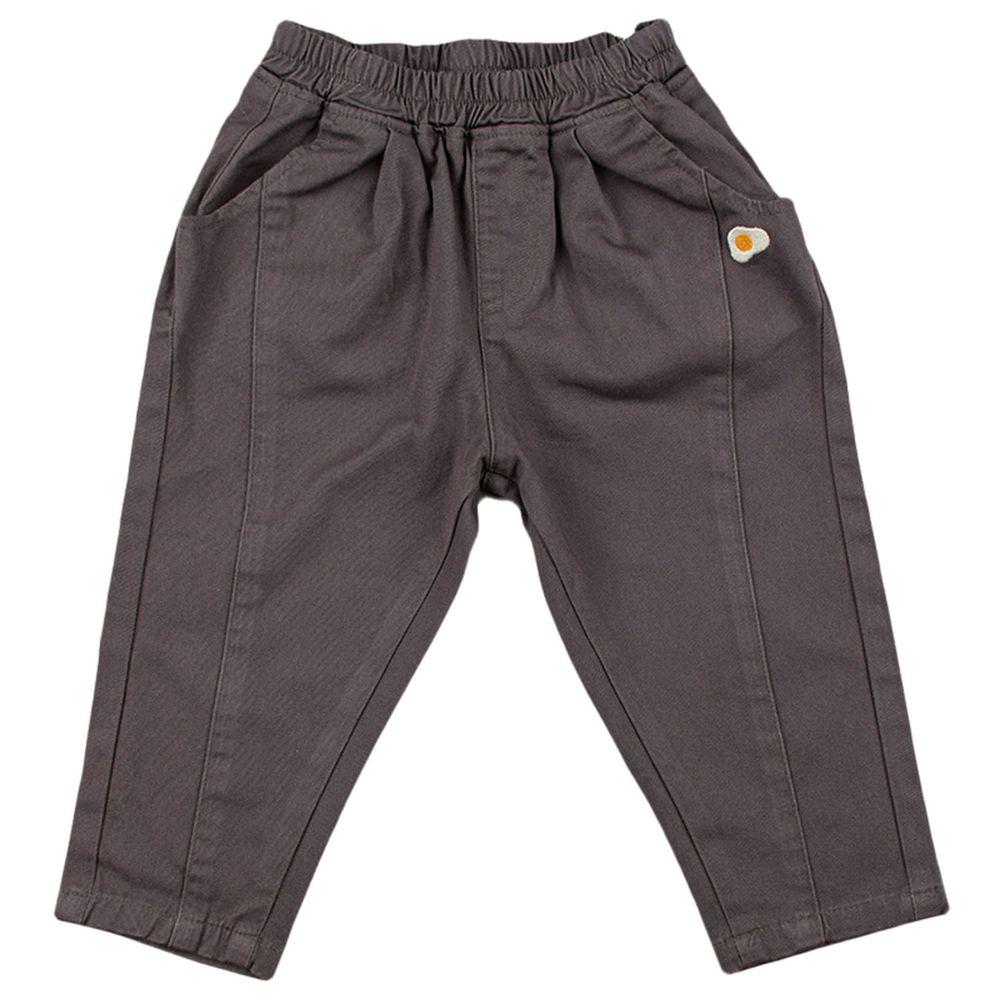 akachan honpo - 平織長褲-荷包蛋-深灰色