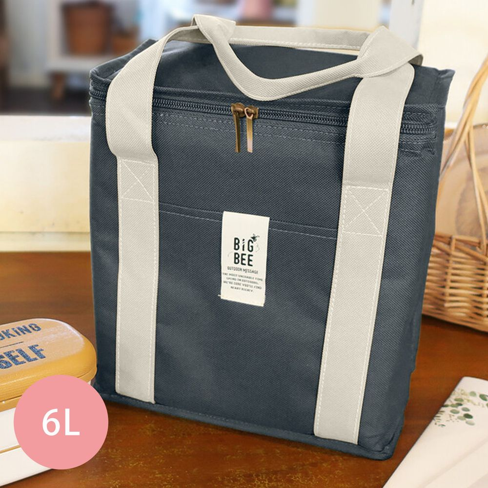 日本 Big Bee - 保冷便當袋/方形購物袋-深藍-6L