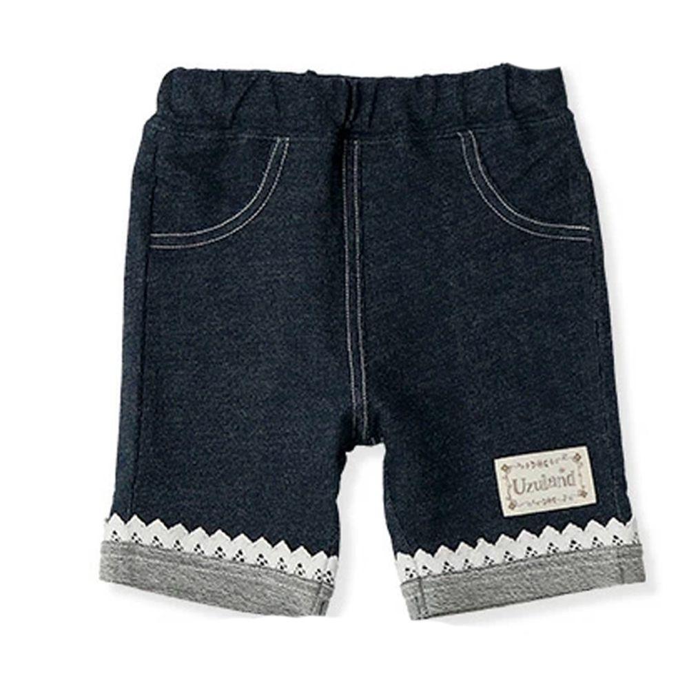 日本 ZOOLAND - 純棉拼接五分褲-蕾絲褲管-深藍