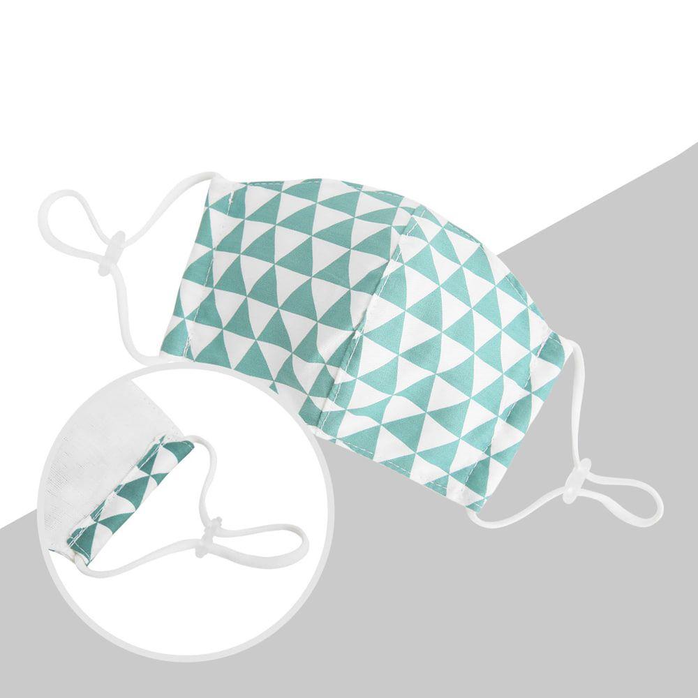 韓國 Coney Island - 純棉+2層棉紗兒童布口罩-綠色三角形 (11*16cm)