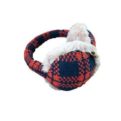可收納式保暖耳罩(成人款)-格紋-紅