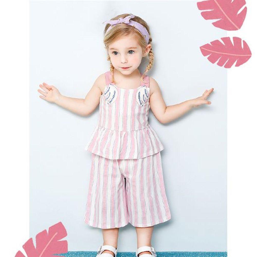 韓國 milk mile - 香蕉直條紋寬肩帶套裝-粉紅