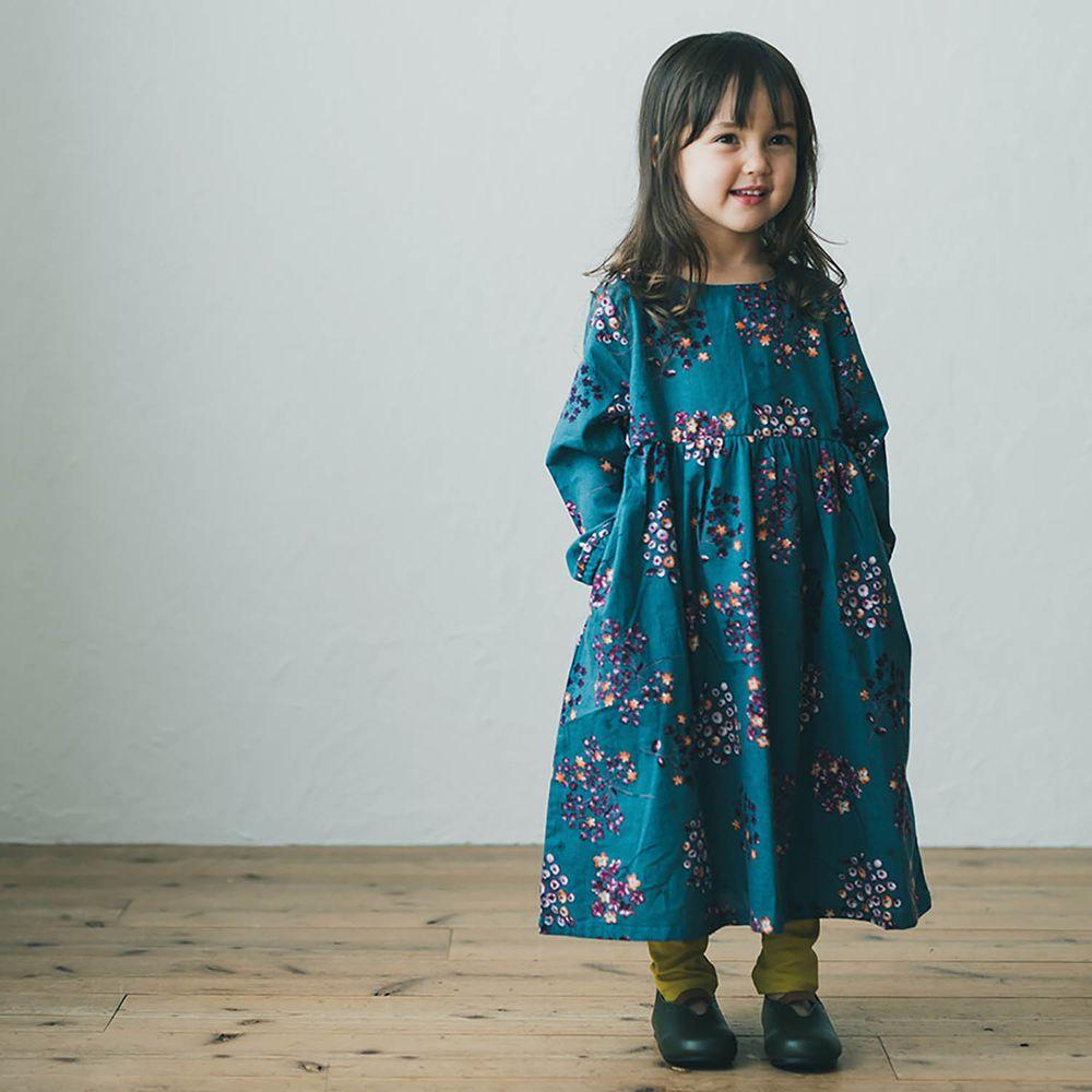 日本 riziere - 純棉 歐風花束起毛長袖洋裝-地中海藍