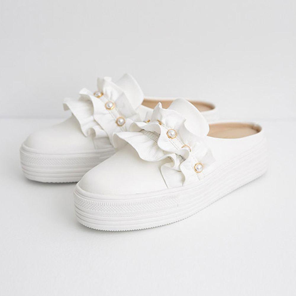 韓國 Dangolunni - 珍珠荷葉後底穆勒鞋(5cm高)-白