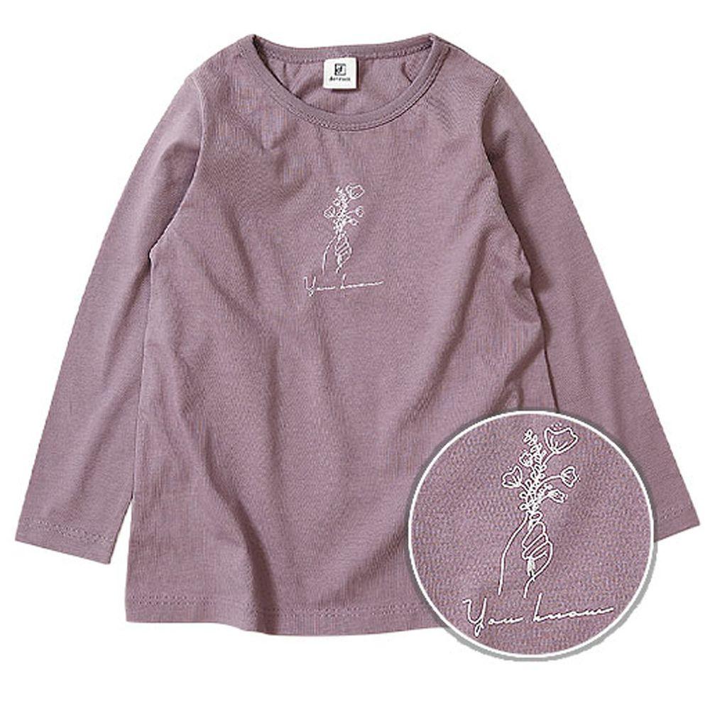 日本 devirock - 純棉 定番百搭印花長T-花束-紫