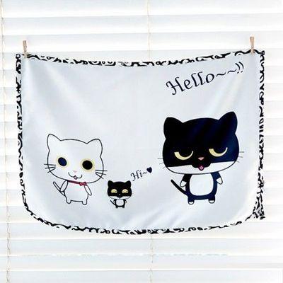 磁鐵式三層抗UV遮陽窗簾-黑白貓咪 (67*48cm)