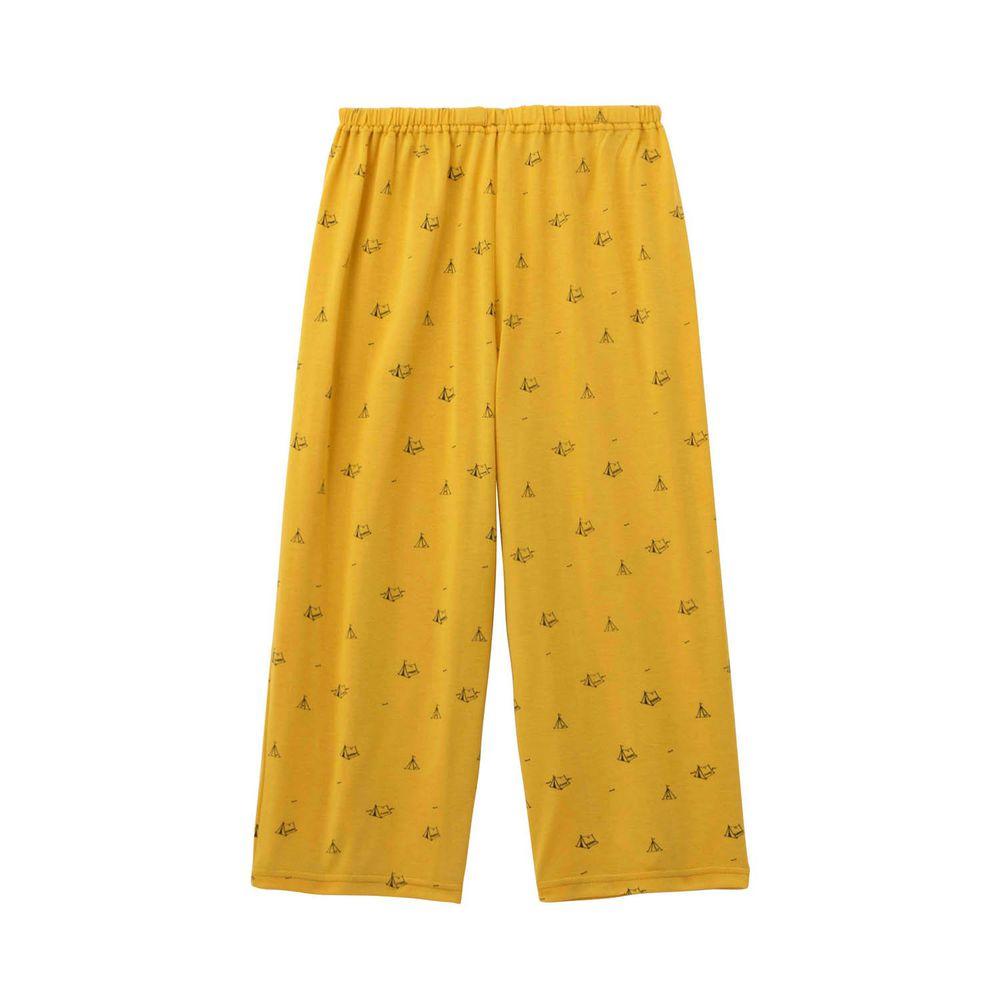 日本千趣會 - (媽媽)接觸涼感舒適睡褲/家居長褲-帳篷-芥末黃