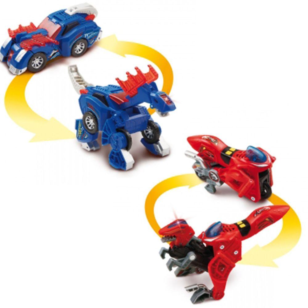 Vtech - 【超值1+1組】聲光變形恐龍車2入組-迅猛龍(紅)+阿馬加龍(藍)