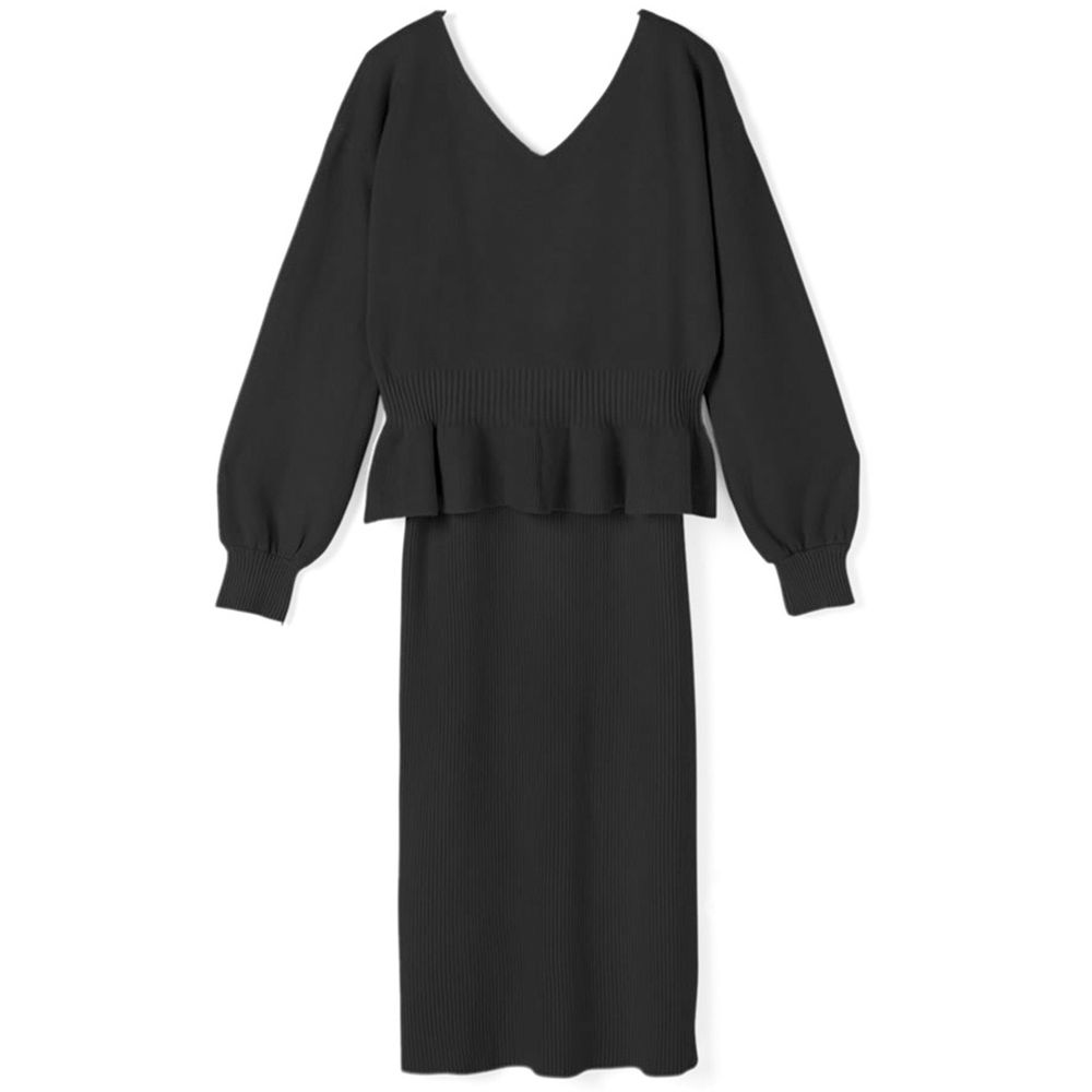 日本 GRL - V領荷葉衣襬針織上衣+修身洋裝套裝-時尚黑