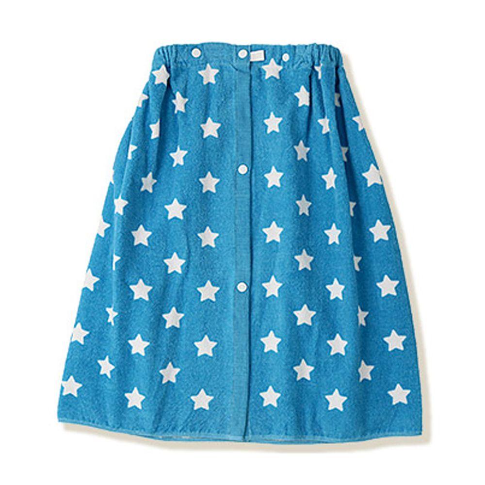 日本 ZOOLAND - 純棉海灘/游泳浴巾/浴袍 (附釦)-C滿版星星-藍 (長60cm(幼稚園~國小低年級))