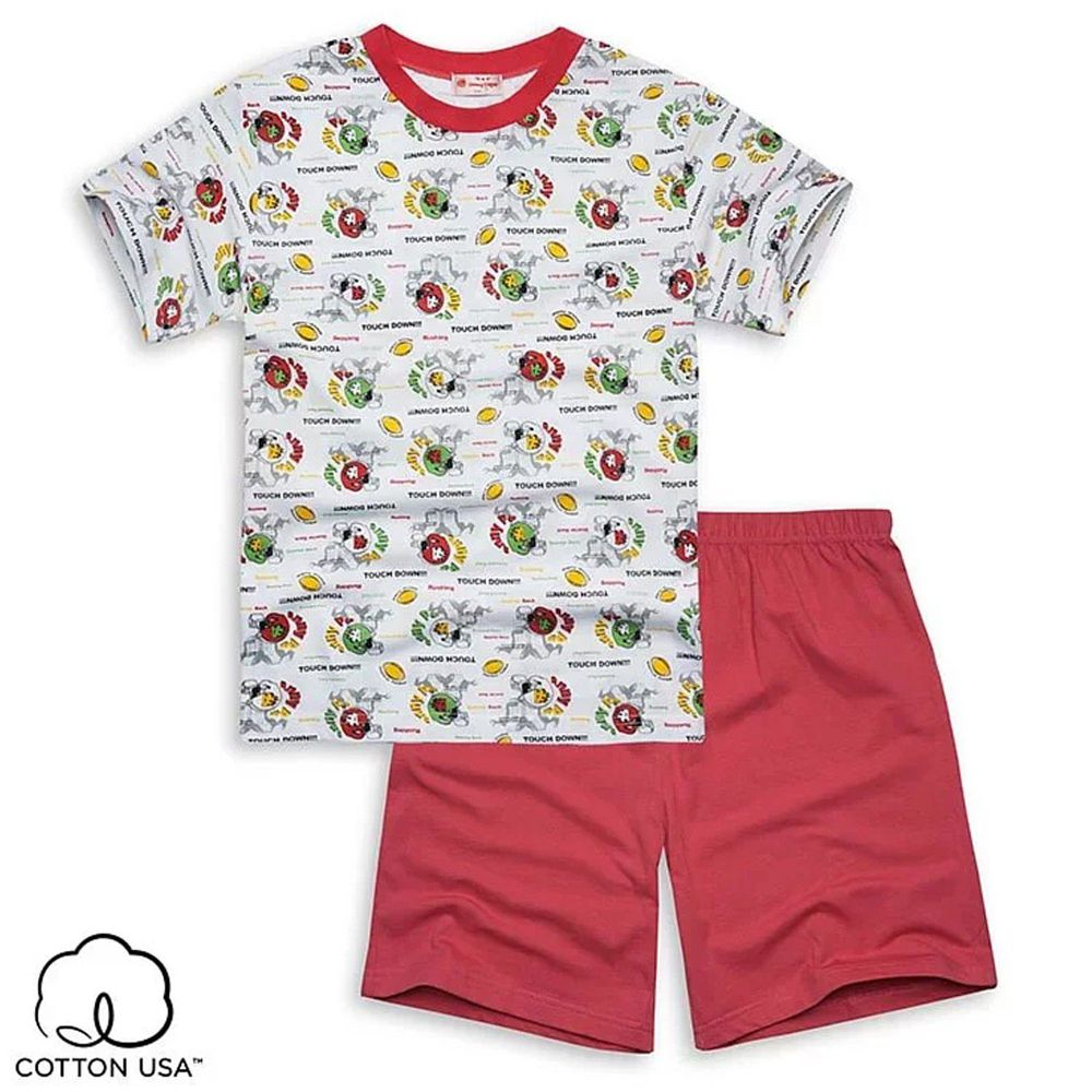 Annypepe - 男童純棉美式足球短袖居家服-紅 (110-150cm)