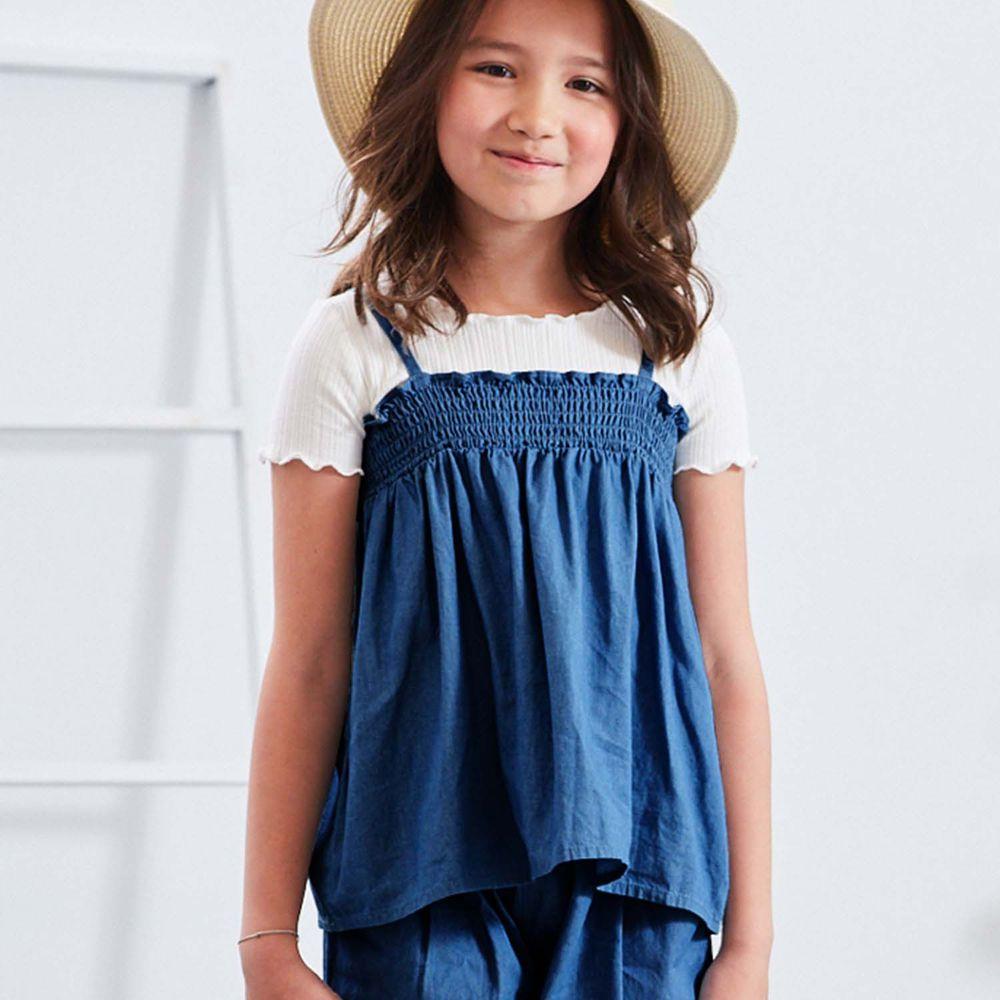麗嬰房 Little moni - 輕薄水洗丹寧上衣-深藍