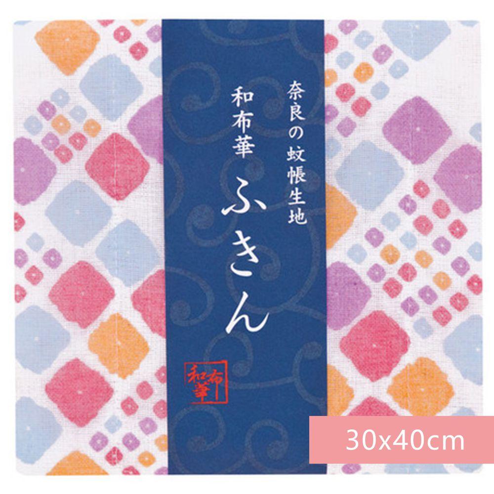 日本代購 - 【和布華】日本製奈良五重紗 方巾-彩色方塊 (30x40cm)
