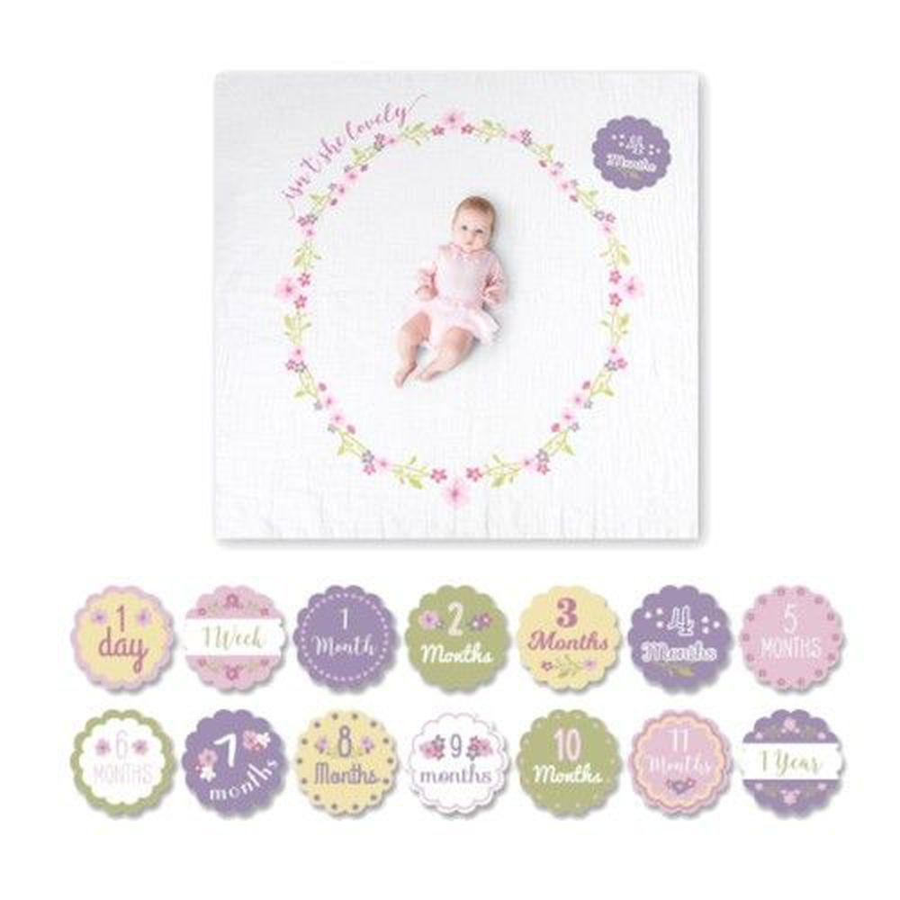 加拿大 lulujo - 寶寶成長包巾卡片組-小花圈