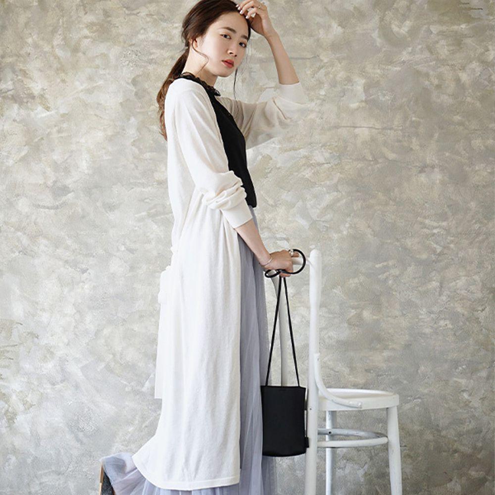 日本 zootie - 涼感X防曬速乾 綁帶長版罩衫/外套-天使白