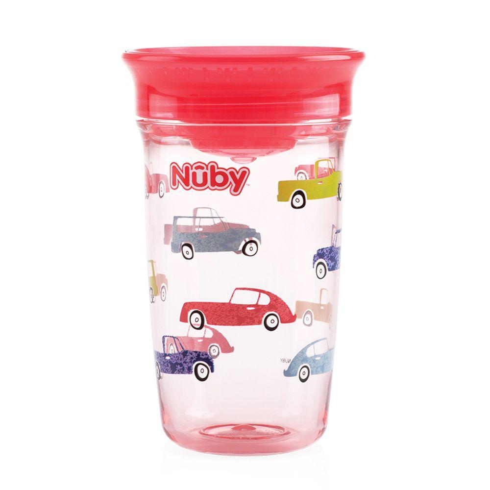 Nuby - 晶透360度喝水杯(12M+)-紅汽車-300ml
