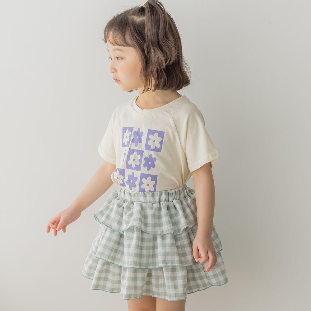 韓國 Orange Mom - 花花蛋糕裙套裝-米白上衣X灰綠裙