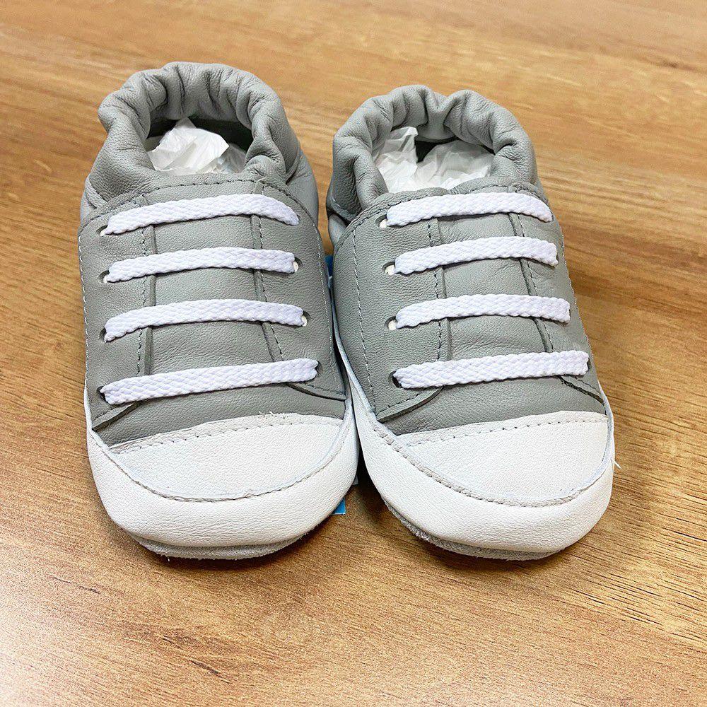 英國 shooshoos - 健康無毒真皮手工鞋/學步鞋/嬰兒鞋/室內鞋/室內保暖鞋-優雅灰運動款