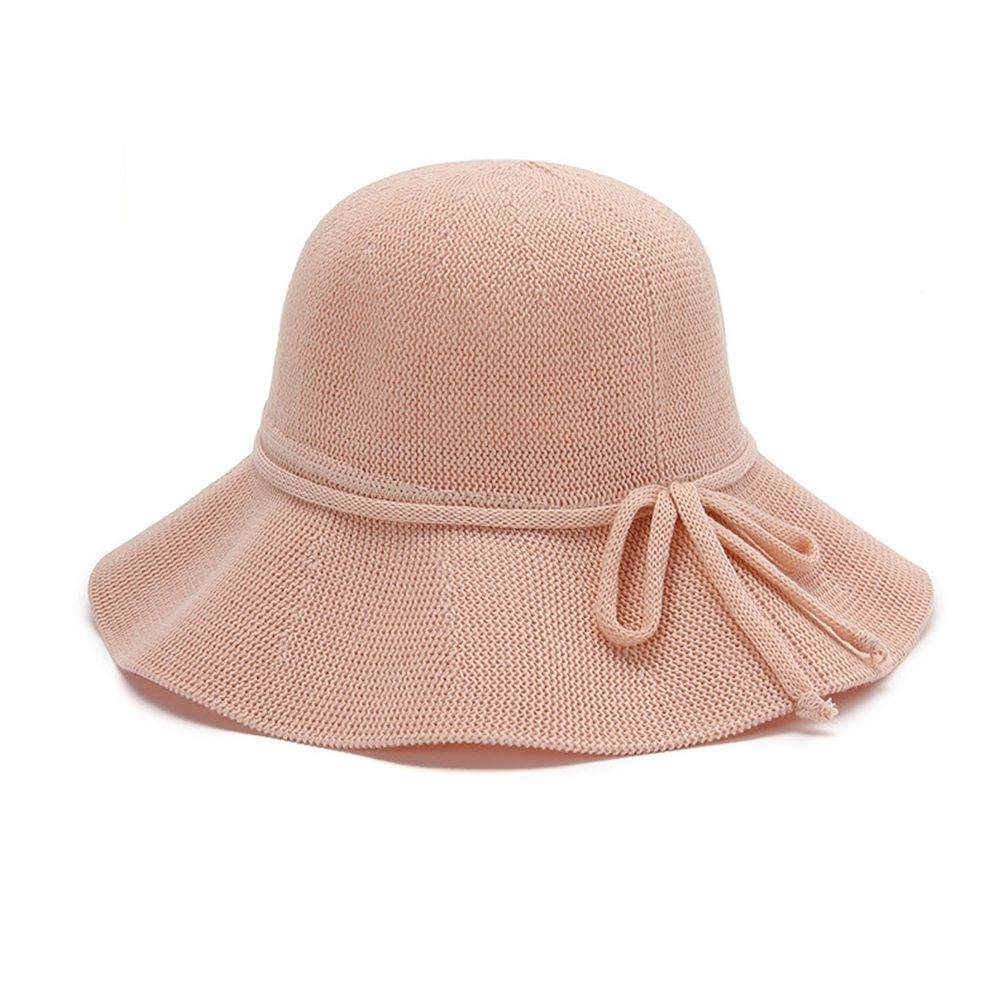 成人透氣可折疊遮陽棉纱草帽-綁繩蝴蝶結-淺粉色 (56-58cm)