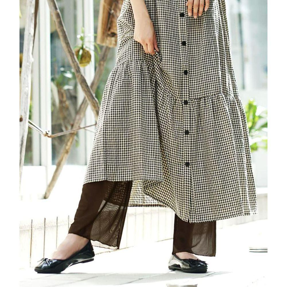 日本 zootie - 時尚透膚層次感穿搭內搭寬版長褲-網紗-咖啡