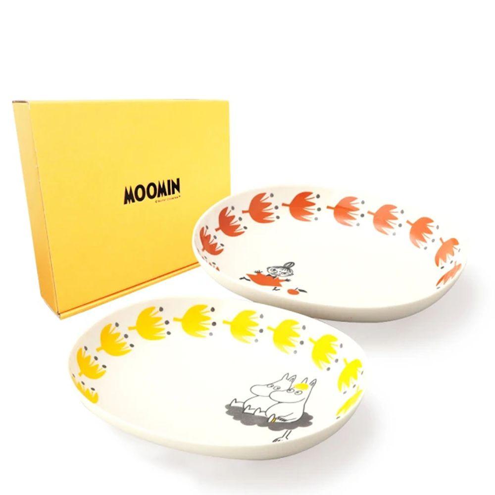 日本山加 yamaka - moomin 嚕嚕米彩繪陶瓷橢圓深盤禮盒-MM1000-150-2入組