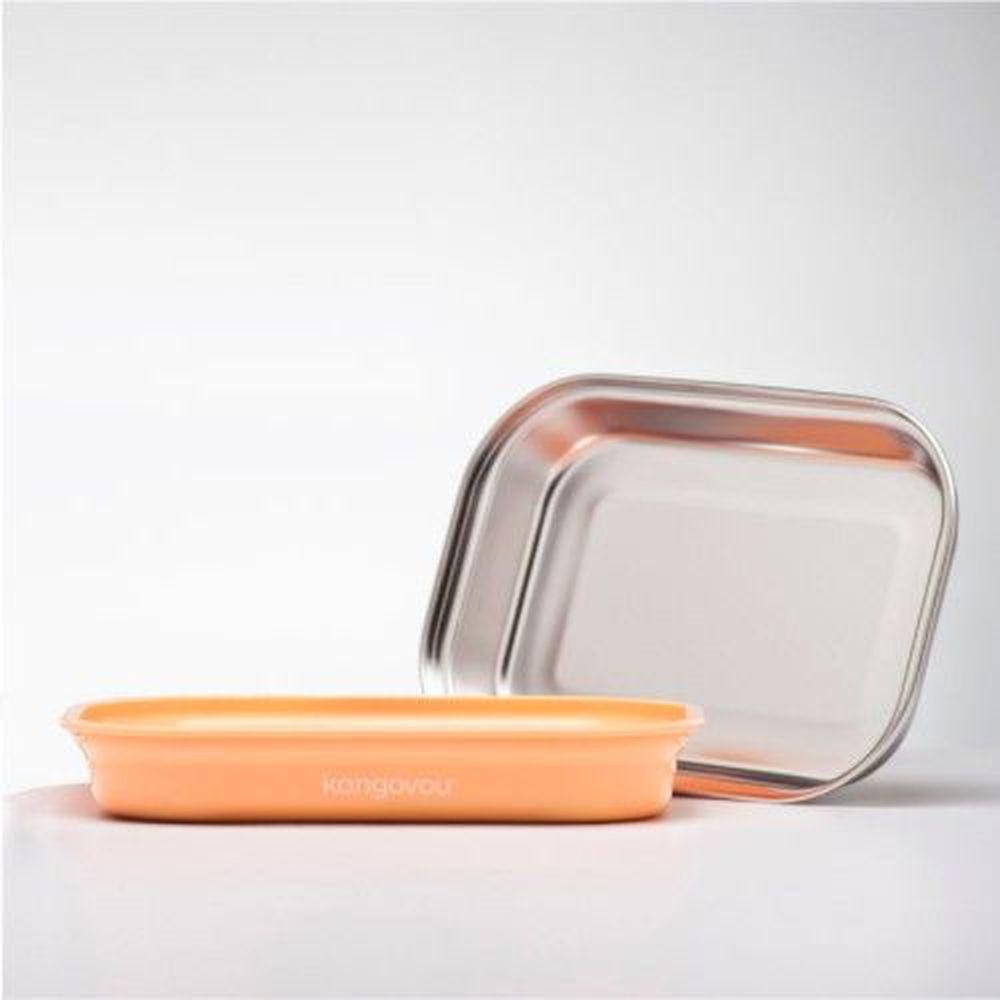 美國 Kangovou - 不鏽鋼安全兒童餐具-平板餐盤-奶油橘 (26*19*5(長*寬*高))