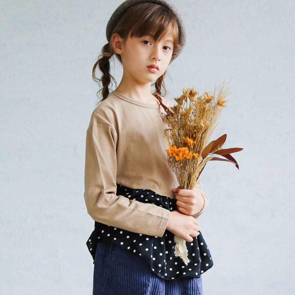 日本 PAIRMANON - 100%柔棉 斜邊荷葉拼接長袖上衣-點點-杏X黑